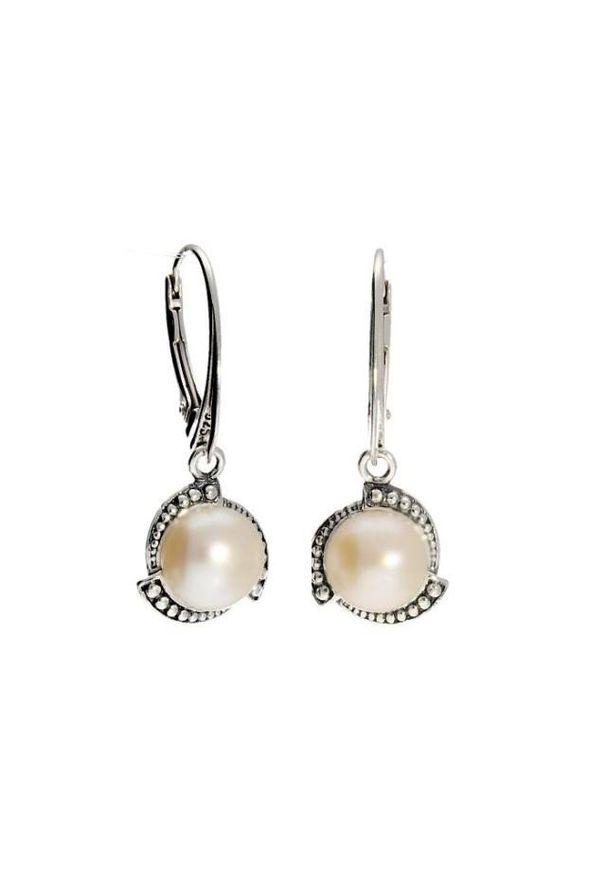 Polcarat Design - Kolczyki srebrne z perłami K 1883. Materiał: srebrne. Kolor: srebrny. Kamień szlachetny: perła