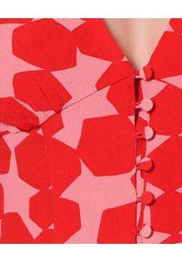 AGGI - Sukienka z obszernymi rękawami Imani. Kolor: czerwony. Materiał: wiskoza. Wzór: geometria. Sezon: lato. Styl: wakacyjny, wizytowy, boho. Długość: maxi