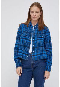 Wrangler - Koszula bawełniana. Kolor: niebieski. Materiał: bawełna. Długość rękawa: długi rękaw. Długość: długie