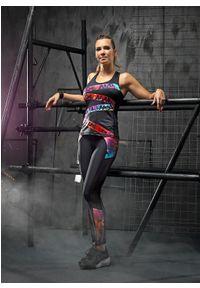 FJ! - Top LION. Materiał: tkanina, skóra, lycra. Wzór: nadruk, aplikacja, kolorowy. Sport: joga i pilates, fitness