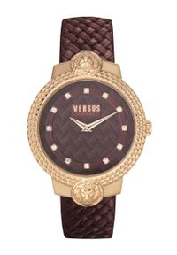 Versus Versace - Zegarek VSPLK1420. Kolor: czerwony. Materiał: skóra, materiał