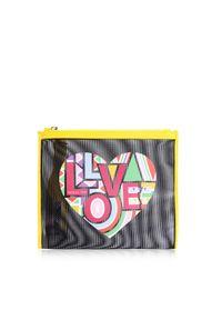 Złota walizka Patrizia Pepe w kolorowe wzory