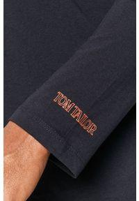 Niebieska koszulka z długim rękawem Tom Tailor Denim z okrągłym kołnierzem, casualowa