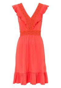 Sukienka z koronką bonprix pomarańczowo-czerwony. Kolor: pomarańczowy. Materiał: koronka. Wzór: koronka