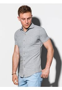 Ombre Clothing - Koszula męska z krótkim rękawem K541 - szara - XXL. Typ kołnierza: kołnierzyk klasyczny. Kolor: szary. Materiał: bawełna, dzianina. Długość rękawa: krótki rękaw. Długość: krótkie. Sezon: lato. Styl: klasyczny