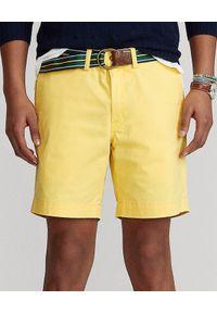 Ralph Lauren - RALPH LAUREN - Żółte spodenki Stretch Straight Fit. Kolor: żółty. Materiał: elastan, bawełna. Wzór: haft