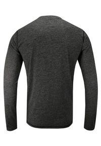 Just Yuppi - Ciemny Szary T-shirt (Koszulka), Długi Rękaw, Longsleeve -JUST YUPPI- Męski, Popielaty, z Guzikami. Okazja: na co dzień. Kolor: szary. Materiał: bawełna, poliester. Długość rękawa: długi rękaw. Długość: długie. Styl: casual