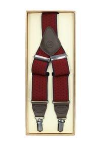 Lancerto - Szelki Czerwone w Kropki. Kolor: czerwony. Materiał: syntetyk, skóra, materiał, elastan. Wzór: kropki