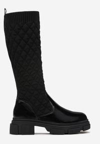 Renee - Czarne Kozaki Theophede. Wysokość cholewki: przed kolano. Nosek buta: okrągły. Zapięcie: zamek. Kolor: czarny. Materiał: materiał. Szerokość cholewki: normalna. Obcas: na obcasie. Wysokość obcasa: niski