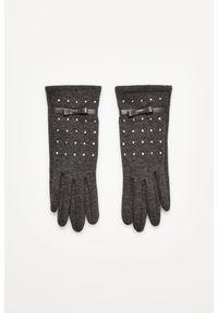 Szare rękawiczki MOODO z aplikacjami