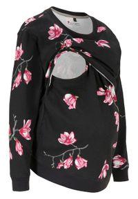 Bluza ciążowa i do karmienia piersią bonprix czarny w kwiaty. Kolekcja: moda ciążowa. Kolor: czarny. Materiał: bawełna, materiał. Wzór: kwiaty
