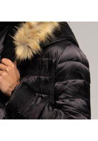 Czarny płaszcz Wittchen elegancki, na jesień, z kapturem