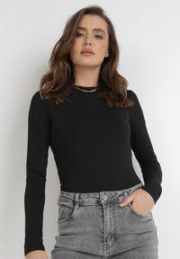 Born2be - Czarne Body Maerane. Kolor: czarny. Materiał: jeans. Długość rękawa: długi rękaw. Długość: długie. Styl: klasyczny