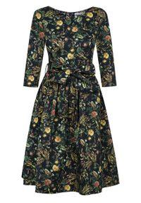 Marie Zélie - Sukienka Melia Folium. Materiał: bawełna, tkanina, materiał, elastan. Długość rękawa: długi rękaw. Wzór: kwiaty. Sezon: jesień