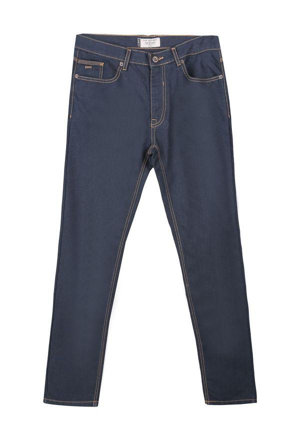 Niebieskie spodnie TOP SECRET na jesień, klasyczne, w kolorowe wzory, na co dzień