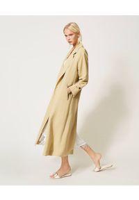 Beżowy płaszcz TwinSet długi, klasyczny