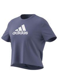 Adidas - Koszulka fitnessu damska. Materiał: skóra, poliester, materiał. Długość: krótkie. Sport: fitness