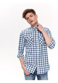 Niebieska koszula TOP SECRET długa, na wiosnę, z krótkim rękawem, w kratkę
