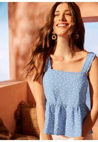 Bluzka bez rękawów bonprix jasnoniebiesko-biel wełny w kropki. Kolor: niebieski. Materiał: wełna. Długość rękawa: bez rękawów. Wzór: kropki