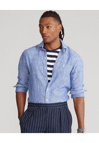 Ralph Lauren - RALPH LAUREN - Niebieska koszula z lnu Slim Fit. Typ kołnierza: polo. Kolor: niebieski. Materiał: len. Długość rękawa: długi rękaw. Długość: długie. Wzór: haft