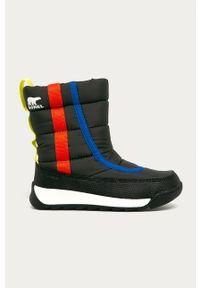 Szare buty zimowe sorel na zimę, z okrągłym noskiem, z cholewką
