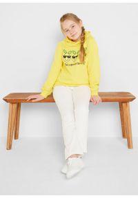 Bluza dziewczęca z kapturem, bawełna organiczna bonprix żółty ananasowy. Typ kołnierza: kaptur. Kolor: żółty. Materiał: bawełna. Wzór: nadruk