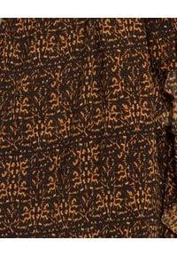 ONETEASPOON - Sukienka w cętki. Kolor: brązowy. Typ sukienki: kopertowe, asymetryczne. Styl: wizytowy. Długość: midi