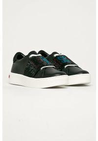 Czarne buty sportowe Love Moschino na sznurówki, z okrągłym noskiem