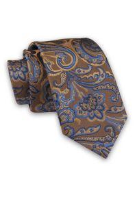 Alties - Karmelowo-Niebieski Elegancki Męski Krawat -ALTIES- 7cm, Stylowy, Klasyczny, Wzór Orientalny. Kolor: niebieski, beżowy, brązowy, wielokolorowy. Materiał: tkanina. Styl: klasyczny, elegancki
