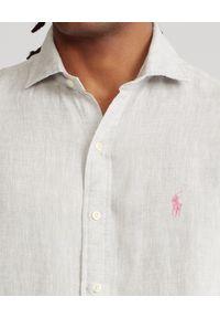 Ralph Lauren - RALPH LAUREN - Lniana koszula Slim Fit. Typ kołnierza: polo. Kolor: szary. Materiał: len. Długość rękawa: długi rękaw. Długość: długie. Wzór: haft #6