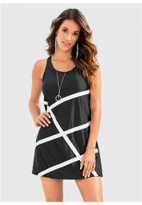 Sukienka plażowa z materiału kąpielowego bonprix czarno-biały. Okazja: na plażę. Kolor: czarny. Materiał: materiał