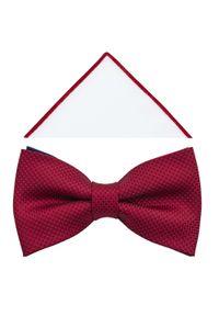 Modini - Czerwona muszka męska w delikatny wzór - kratka A376. Kolor: czerwony. Materiał: tkanina, poliester. Wzór: kratka. Styl: elegancki