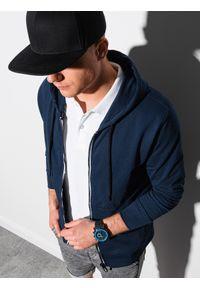Ombre Clothing - Bluza męska rozpinana z kapturem B1152 - granatowa - XXL. Typ kołnierza: kaptur. Kolor: niebieski. Materiał: poliester, bawełna
