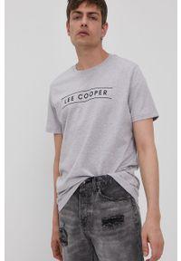Szary t-shirt Lee Cooper z nadrukiem, casualowy