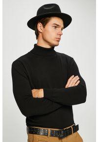 Czarny sweter Brave Soul casualowy, z golfem