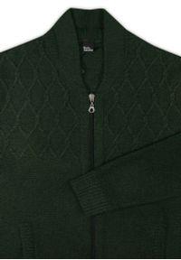 Lasota - Sweter Zielony, Butelkowy, Zapinany na Zamek, Dziergany, ze Ściągaczami, Elegancki -LASOTA. Kolor: zielony. Materiał: bawełna, akryl. Sezon: zima, jesień. Styl: elegancki #5