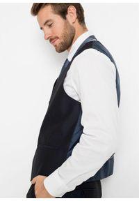 Garnitur 4-częściowy (marynarka, spodnie, kamizelka i krawat) bonprix ciemnoniebieski. Kolor: niebieski. Styl: elegancki #4