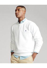 Ralph Lauren - RALPH LAUREN - Biała bluza z bawełny. Typ kołnierza: polo, bez kaptura. Kolor: biały. Materiał: bawełna. Wzór: haft, aplikacja. Styl: klasyczny