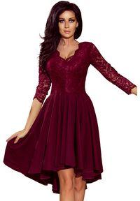 Sukienka wieczorowa Numoco w koronkowe wzory, asymetryczna