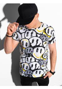 Żółty t-shirt Ombre Clothing z nadrukiem