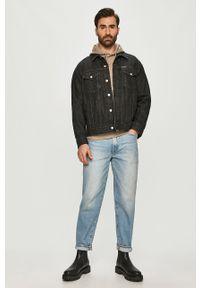 Szara bluza nierozpinana Calvin Klein Jeans melanż, na co dzień, z kapturem