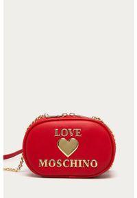 Czerwona listonoszka Love Moschino na ramię, z aplikacjami, mała