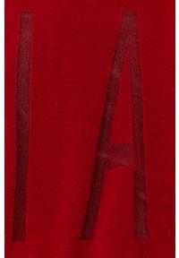 Liviana Conti - Sweter wełniany. Kolor: czerwony. Materiał: wełna. Długość rękawa: długi rękaw. Długość: długie