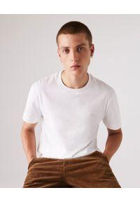 Lacoste - LACOSTE - Biały t-shirt z okrągłym dekoltem Regular Fit. Kolor: biały. Materiał: bawełna. Wzór: jednolity, haft