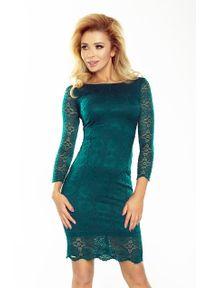 Numoco - Zielona Sukienka Wizytowa z Koronki. Kolor: zielony. Materiał: koronka. Wzór: koronka. Styl: wizytowy