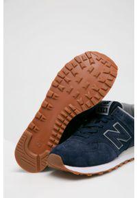 Niebieskie sneakersy New Balance z okrągłym noskiem, na sznurówki, New Balance 574, z cholewką