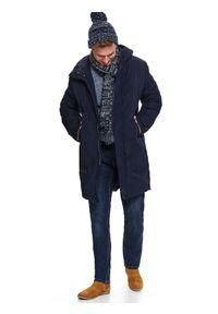 Niebieski sweter TOP SECRET z długim rękawem, w paski, długi, casualowy
