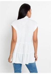 Długa bluzka bonprix biały. Kolor: biały. Długość: długie
