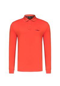 Czerwona koszulka polo Chervo długa, polo, z długim rękawem, na zimę