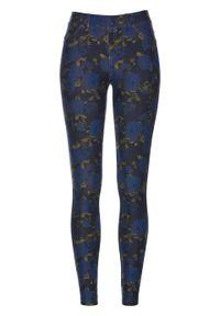 Jegginsy w kwiatowy deseń bonprix ciemnoniebiesko-niebieski w kwiaty. Kolor: niebieski. Wzór: kwiaty